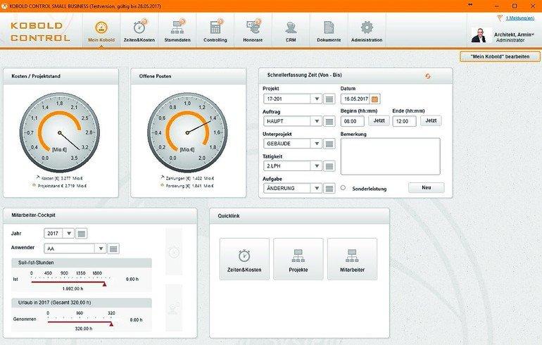 Projekt- und Controllingprogramm für bis zu fünf Nutzer. Bild: Kobold Management Systeme GmbH