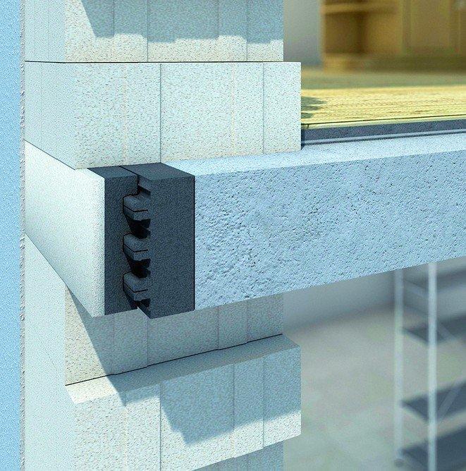 Die Kombination aus bewährtem PORIT Porenbeton und dem hochwärmedämmenden EPS Neopor® ermöglicht den wärmebrückenfreien Übergang von Geschossdecken zum Außenmauerwerk. Bild: Porit