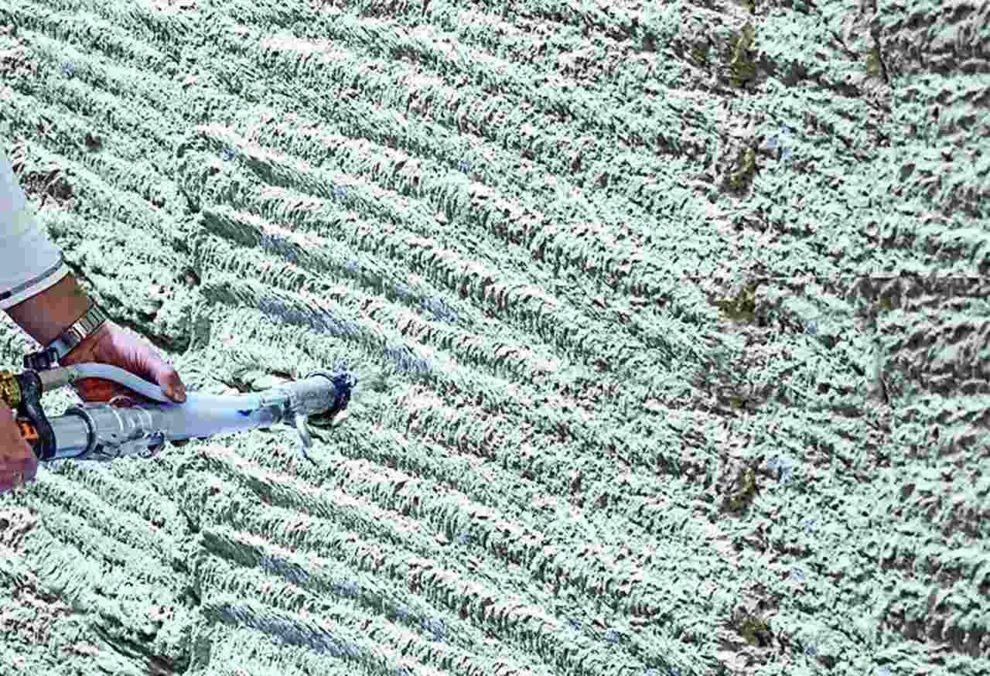 Leichtputz: Spritzbare Wärmedämmung. Bild: Schwenk Putztechnik