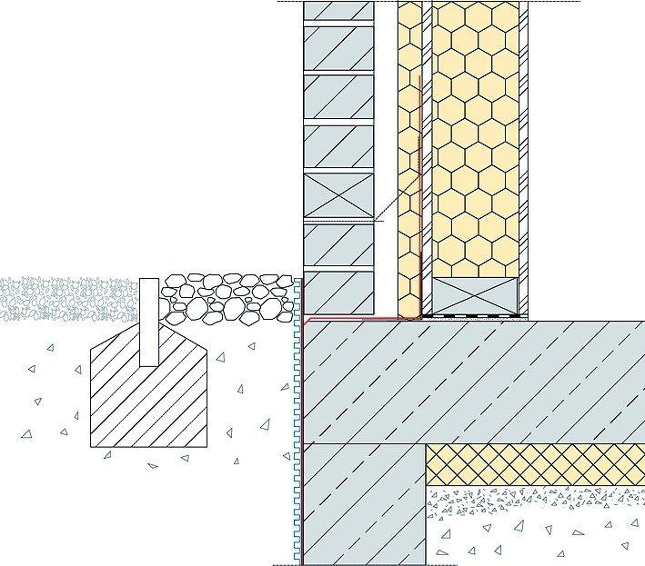 Sockelabdichtung im Holzrahmenbau - schlämm,- spachtel- und spritzfähig. Zeichnung: Remmers