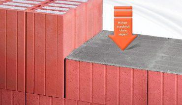 Für einen vereinfachten Baustellenablauf mit Poroton-Außenwandziegel gibt es von Schlagmann Poroton Höhen-Ausgleichsziegel HAZ. Bild: Schlagmann Poroton