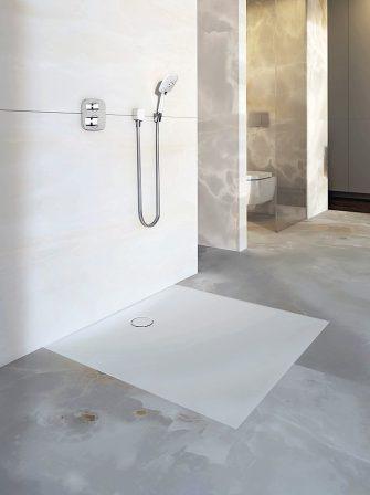 setaplano von geberit bodenebene dusche mit warmer haptik. Black Bedroom Furniture Sets. Home Design Ideas