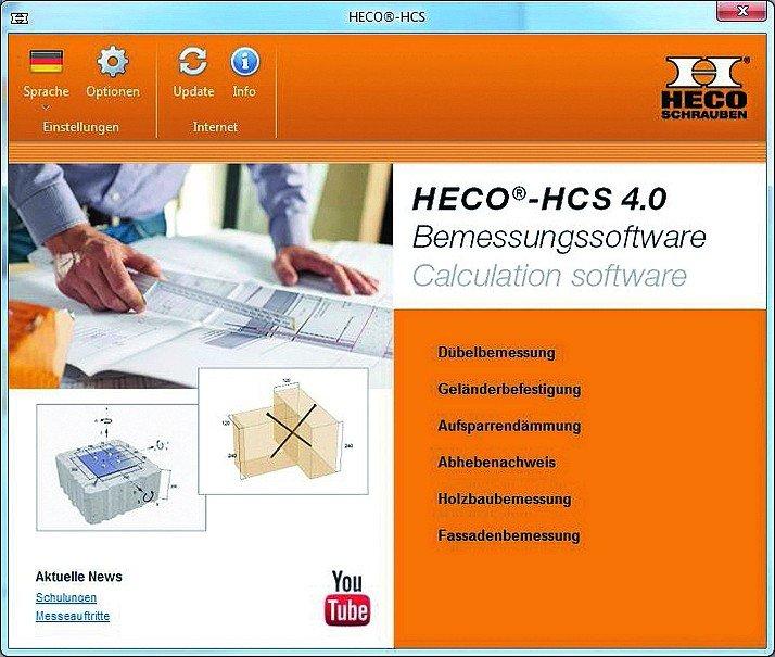 Die bewährte Bemessungssoftware von HECO liegt in vierter und überarbeiteter Version vor. Die HECO®-HCS 4.0 bietet die Möglichkeit, Holz- und Dübelverbindungen in wenigen Schritten präzise zu berechnen. Bild: Heco