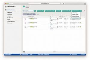 Webbasierter Projektraum: Suchfunktionen mit vielen Filtermöglichkeiten