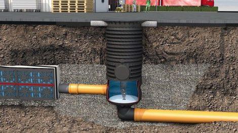 Die Rigolen-Elemente und Retensionszisterne Graf EcoBloc werden in ihrer Ablaufleistung optimal durch die Wirbeldrossel VS-Control Extern reguliert. Bild: Otto Graf GmbH