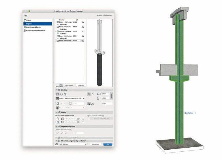 Neue Balken-, Stützen- und Öffnungswerkzeuge erhöhen die Genauigkeit bei der Modellierung. Komplexe Stützenformen und Stützenquerschnitte sowie gekrümmte, gezogene und verzierte Balken lassen sich zügig modellieren und umfassend dokumentieren. Bilder: © Graphisoft
