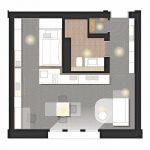 Grundriss Musterwohnung 1,5-Zimmer-Apartment.