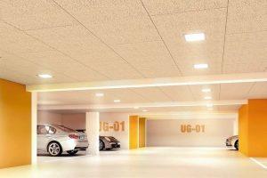 Deckendämmplatten mit LED-Leuchten - Holzwolle-Mehrschichtplatten mit Steinwolle-Kern