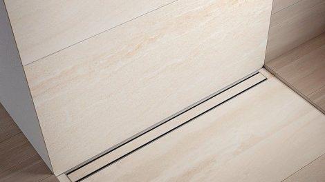 Duschrinne für bodenebene Dusche: TECEdrainline-Evo. Bild: TECE