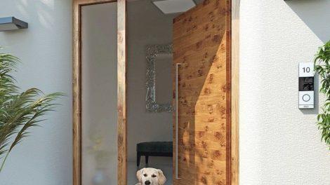 Alumat Haustür mit Hund