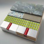 Ideal für Natursteinbelag: Wasserführende Flächenheiz- und Kühlsysteme mit aufkaschierten Wärmeleitplatten aus Aluminium können als Rohrträgerelemente in Trockenbauweise ohne Estrich verlegt werden. Bild: Proline Systems GmbH