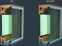 Hebe-Schiebe-Elemente aus Holz und Holz-Aluminium: Die Bodenschwellen mit 5 mm Höhe tragen zu großen Glasflächen mit hohem Lichteinfall bei.