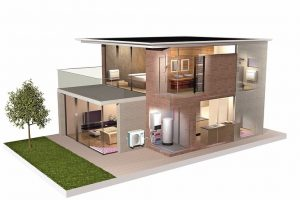 Schemadarstellung des Heizund Kühlkreislaufs in einem Haus. Bild: Daikin