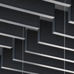 Jede der 1025 Baffeln besteht aus einem Alu-Rahmen und einer in Schwarz vlieskaschierten Platte. Bild: Wölpert/Knauf AMF