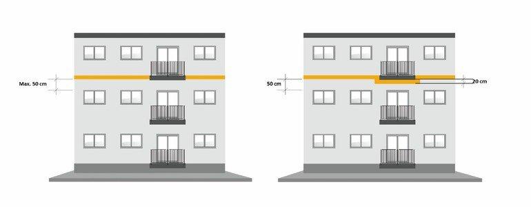 Skizze horizontaler Brandriegel an Gebäude