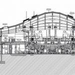 Schnittzeichnung des Neubaus einer Whisky Destillery in Schottland