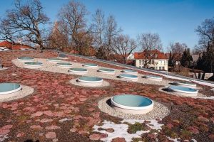 22 runde Flachdachfenster auf einem Kindergarten in Garching.
