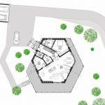 Grundriss Sechseck-Plusenergiehaus. Zeichnungen: pape oder semke Architekturbüro