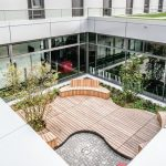 Großflächige Verglasungen vor begrünten Innenhöfen: Die Pfosten-Riegel-Konstruktion FW 50+.HI ist zur Belüftung und Entrauchung mit mechatronischen Kippfenstern AWS 75.SI+ kombiniert
