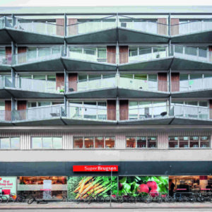 Trapezförmige Balkone an Wohnhaus in Kopenhagen