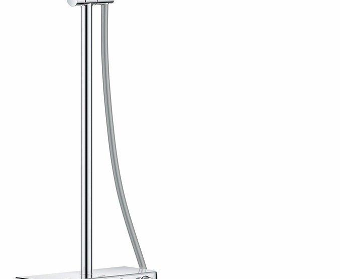 Das Grohe Euphoria SmartControl Duschsystem bietet eine mehrstrahlige Kopfbrause mit intuitiver Druck- und Drehknopfbedienung im minimalistischen Design. Bild: Grohe