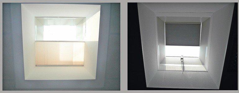Innenansicht eins Dachfensters mit Sonnenblende. Bild: Jet