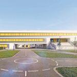 Halbtransparente Fenster-Markisen für Neubau einer Schule in Leipzig. Bilder: Warema