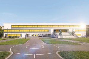 Halbtransparente Fenster-Markisen für Neubau einer Schule in Leipzig