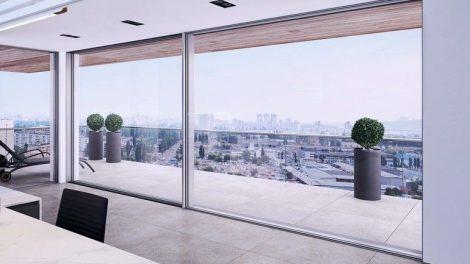 Schiebetür MB-Skyline mit verdeckter Zarge bietet hohe Ästhetik durch modernes Design plus Funktionalität und Energieeffizienz. Bild: Aluprof S.A.