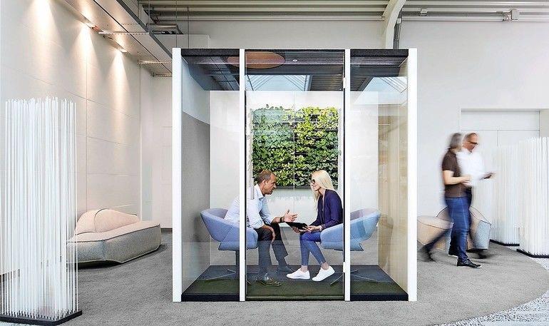 """Raum-in-Raum-Lösung """"Bosse human space"""" für kreatives Arbeiten bietet transparentes Design, innovative Technik und viele Funktionalitäten. Bild: Dauphin HumanDesign Group"""