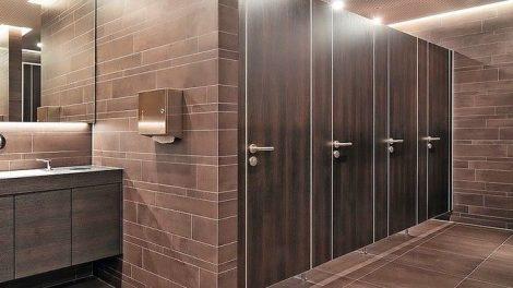 WC-Trennwand mit DGNB-zertifizierten Einzelkomponenten. Bild: Kemmlit Bauelemente GmbH