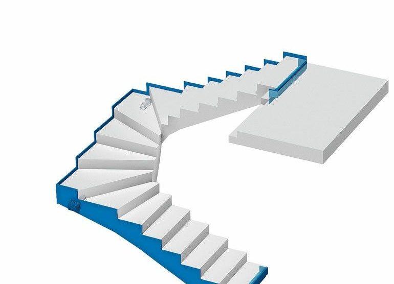 Gewendelte Treppenanlage mit trittschallgedämmtem Anschluss an die Haustrennwand