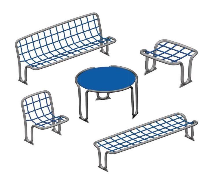 Sitzgruppe für öffentliche Plätze. Bild: Spogg Sport Güter