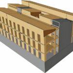 EWS-CAD-Illustration: Auf dem betonierten Erdgeschoss ruhen drei massive Stockwerke aus materialeffizienten Brettsperrholz-Elementen. Bild: Lignotrend