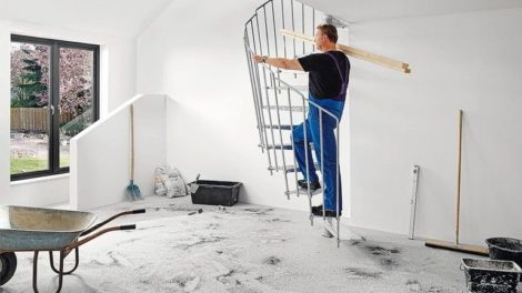Schmalwangen-Treppe im industriellen Design