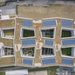 Photovoltaik-Anlage auf begrüntem Flachdach