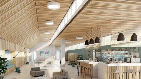 Pinumont empfiehlt sich als Akustikelement besonders für Objektbereiche mit hohem Anspruch an eine optimale Raumakustik, wie z. B. Großraumbüros, Besprechungsräume, Gastronomie oder Schulen. Bild: MOCOPINUS