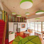 Farbenfrohe Gruppenräume: Lichtdurchflutet durch Fensterflächen und eine zweite Ebene für zusätzlichen Platz. Bild: © SWISS KRONO   Foto: tm studios