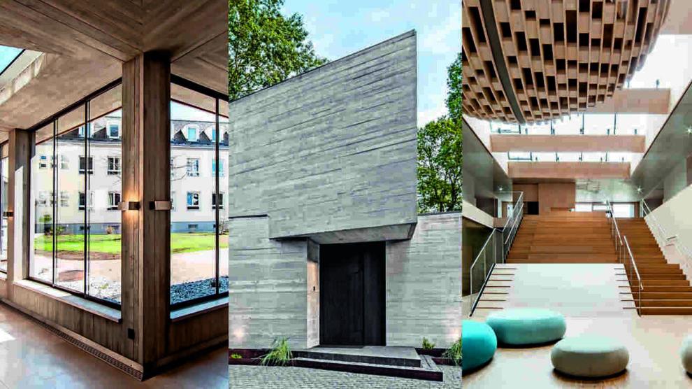 Kreuzgang mit Glasschiebetüren, Sichtbeton-Villa, Foyer mit Akustikdecke