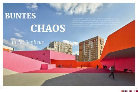 """Die Farbe """"Himbeerrot"""", die in der colore Nr. 18 im Mittelpunkt steht, spiegelt sich auch im Bericht zum Schulkomplex der französischen Stadt Colombes, Banlieue, wider. Bild: Brillux"""