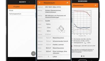Raumakustik bequem und schnell auf dem Android Endgerät berechnen? Kein Problem mit der neuen Raumakustik App für Smartphone und Tablet. Bild: Knauf AMF