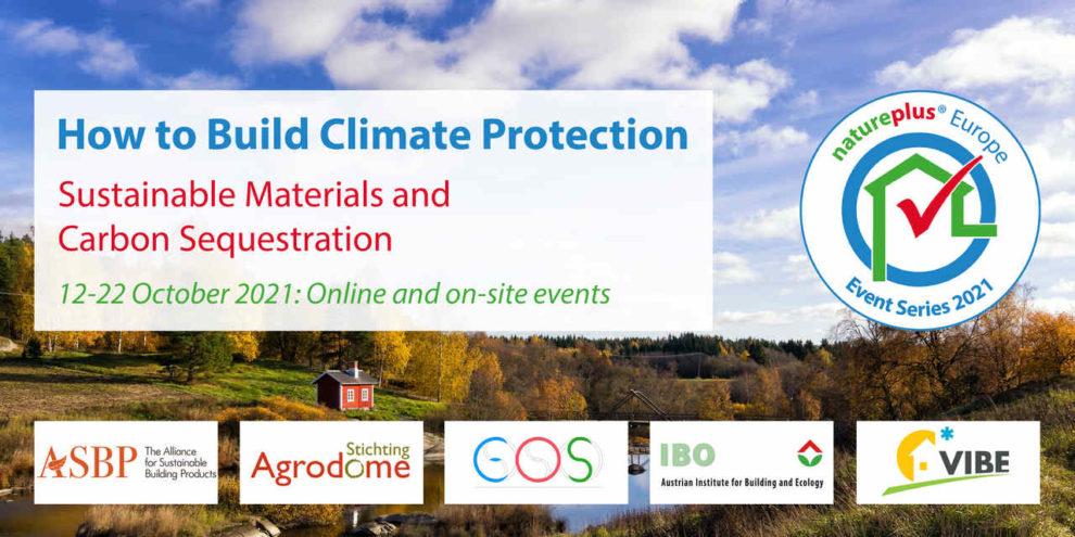 Key-visual einer Veranstaltungsreihe von natureplus zum Thema Gebauter Klimaschutz / Gebäude als Kohlenstoffsenke