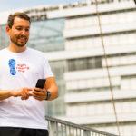 Läufer mit Baukultur-Lauf-App Sight running NRW. Bild: Andrea Bowinkelmann